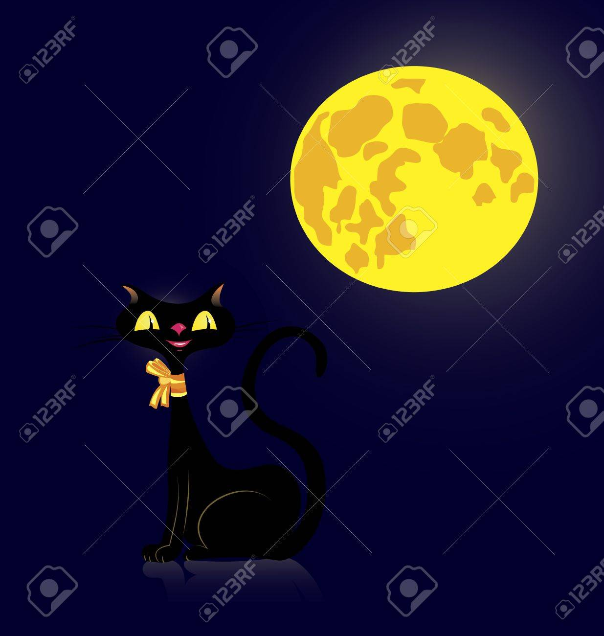 illustration of a black cat in the night Stock Vector - 14579200