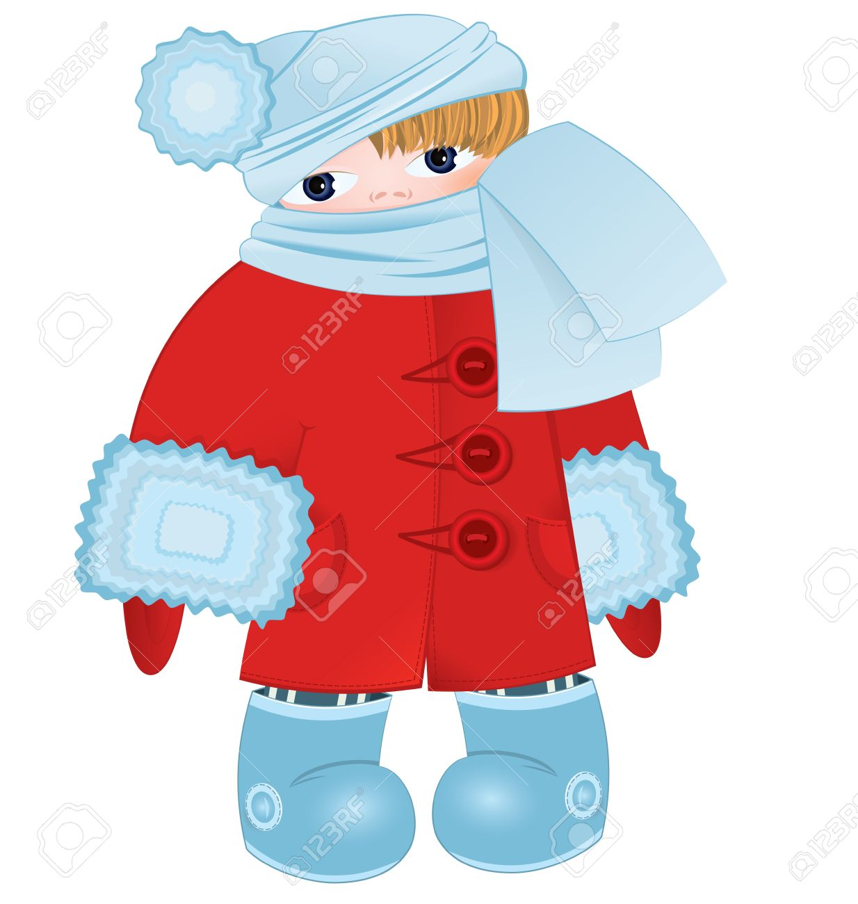 d7bfa23ee650 Illustration Of A Cartoon Kid Standing In Red Winter Coat Ant ...