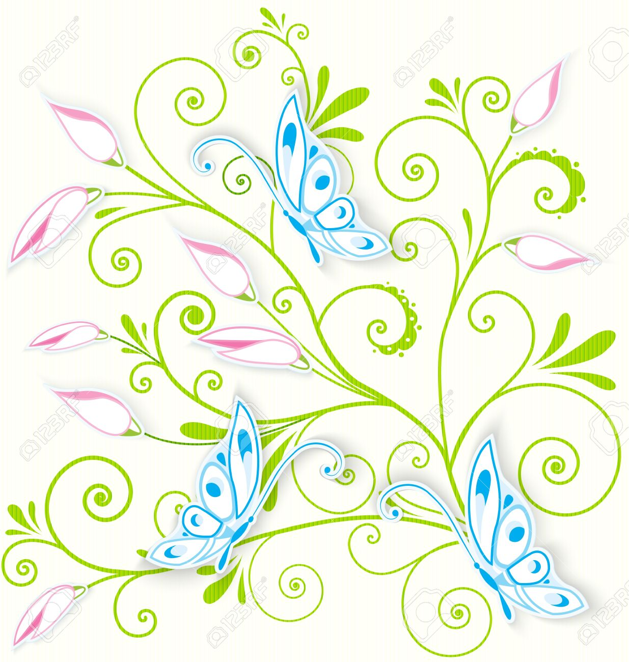 Vector illustration of blue butterflies cut out of paper over floral spiral textured background Stock Vector - 16901141