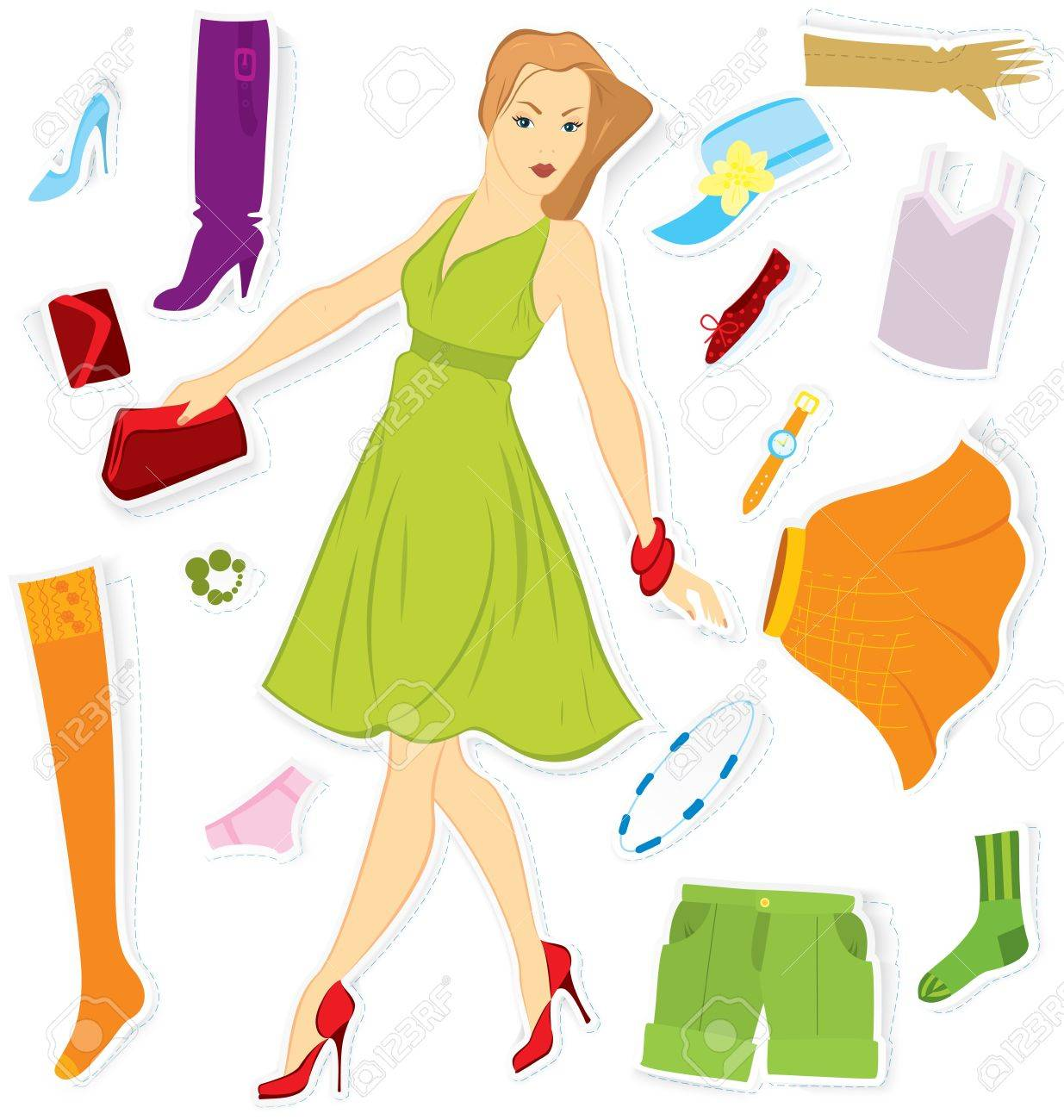 Vector illustration of girl and clothes stickers cut out of paper with realistic shadow Stock Vector - 16901188