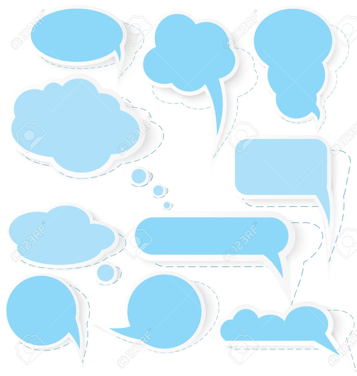 Vector illustration of cut out of paper speech bubble stickers on isolated on white Stock Vector - 16901120