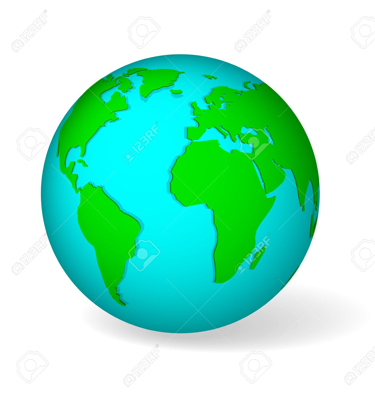 Blue globe symbol with green world map icon of earth isolated blue globe symbol with green world map icon of earth isolated on white with realistic shadow gumiabroncs Choice Image