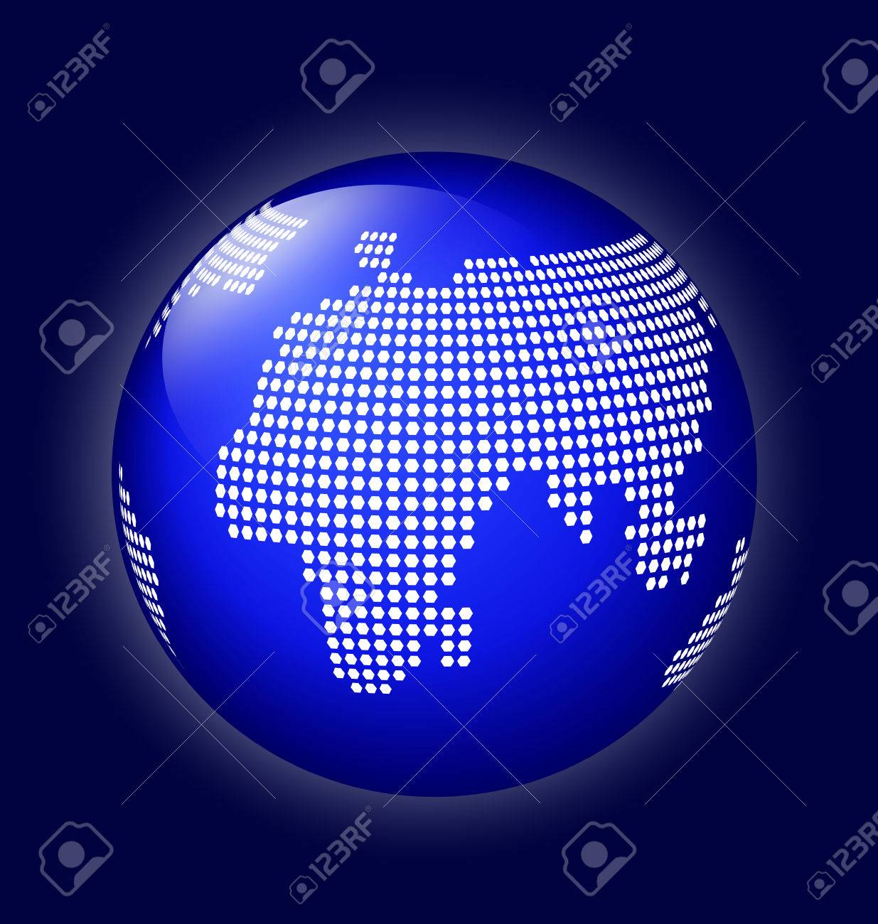 Blue globe symbol with white world map made of dots icon of blue globe symbol with white world map made of dots icon of earth on dark blue gumiabroncs Choice Image