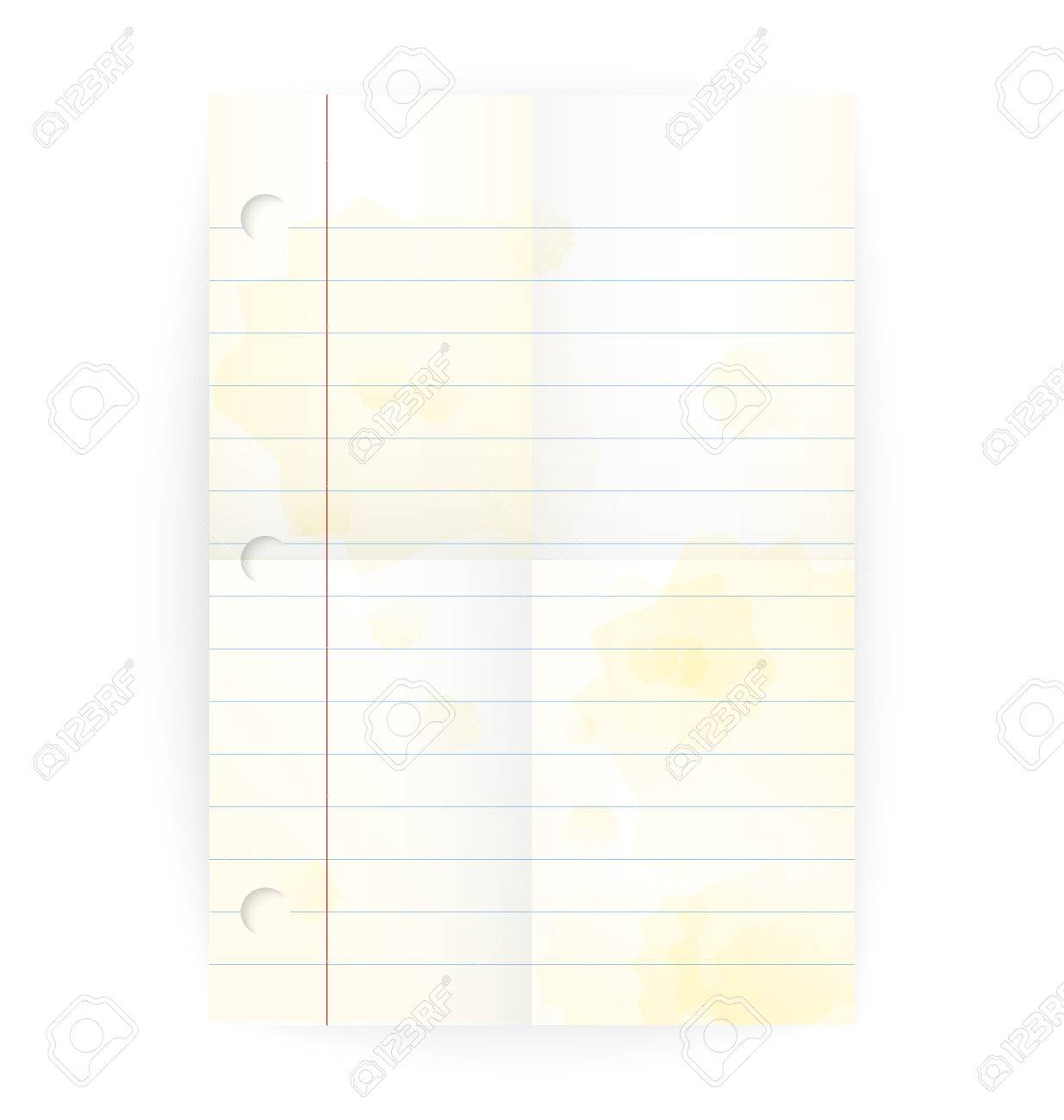 Vector Old Notepad Ruled Blank Page With Folded Lines And Yellow ...