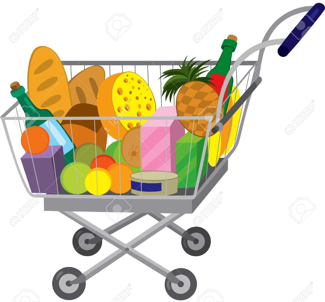 Illustration Of Cartoon Shopping Cart Full Of Groceries Isolated ...