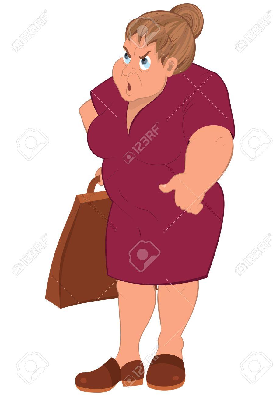 Illustration De Dessin Anime Personnage Feminin Isole Sur Blanc Cartoon Grosse Femme En Robe Rouge Et Sac D Epicerie Clip Art Libres De Droits Vecteurs Et Illustration Image 31013975