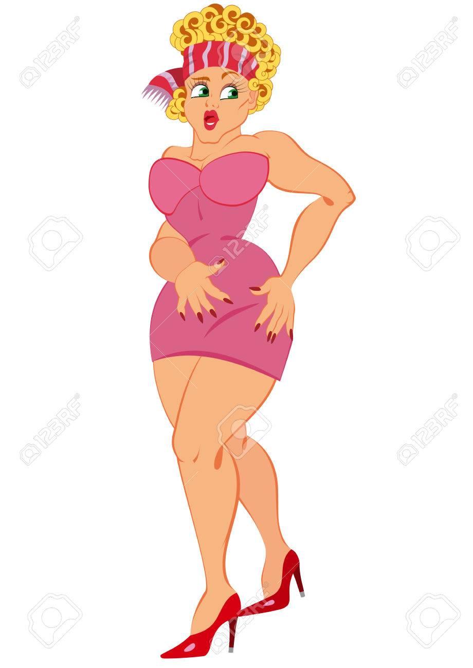白で隔離の漫画の女性キャラクターのイラスト。ピンクのドレスに立って口を開けての漫画の女性。
