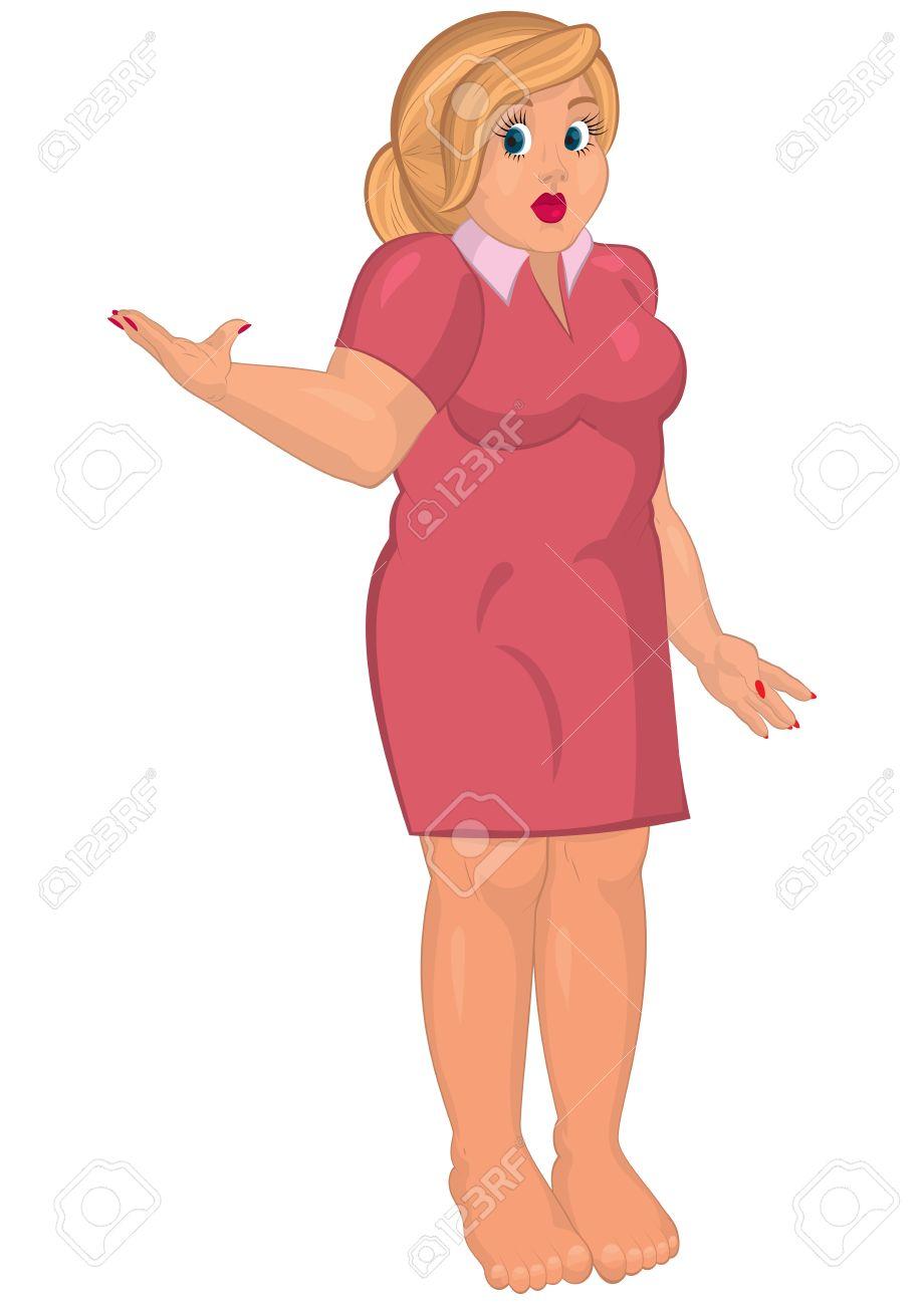 Ilustración De La Mujer Gorda Joven De La Historieta En Vestido Rosa ...