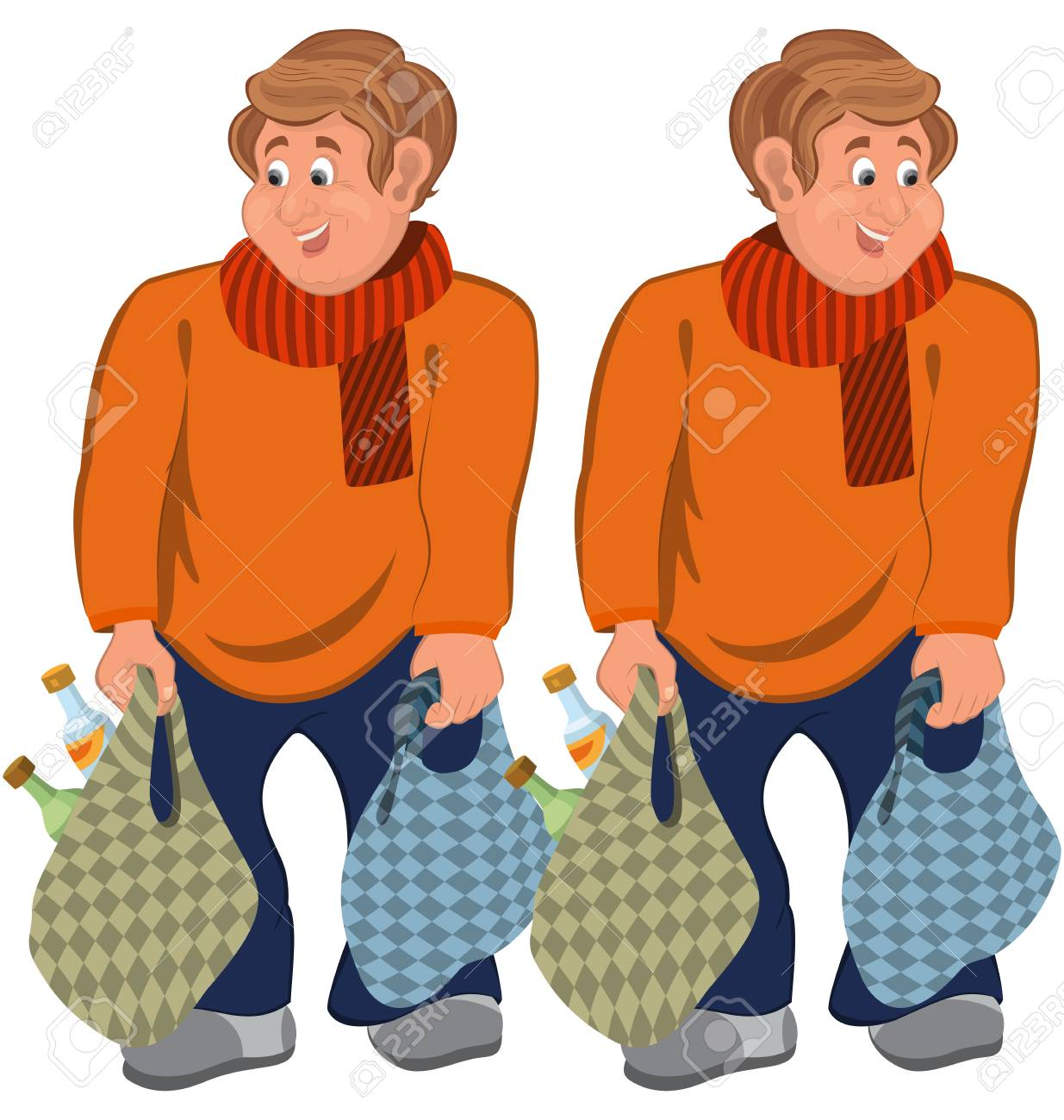 白で隔離 2 つの漫画の男性キャラのイラストスーパーの袋をオレンジ色