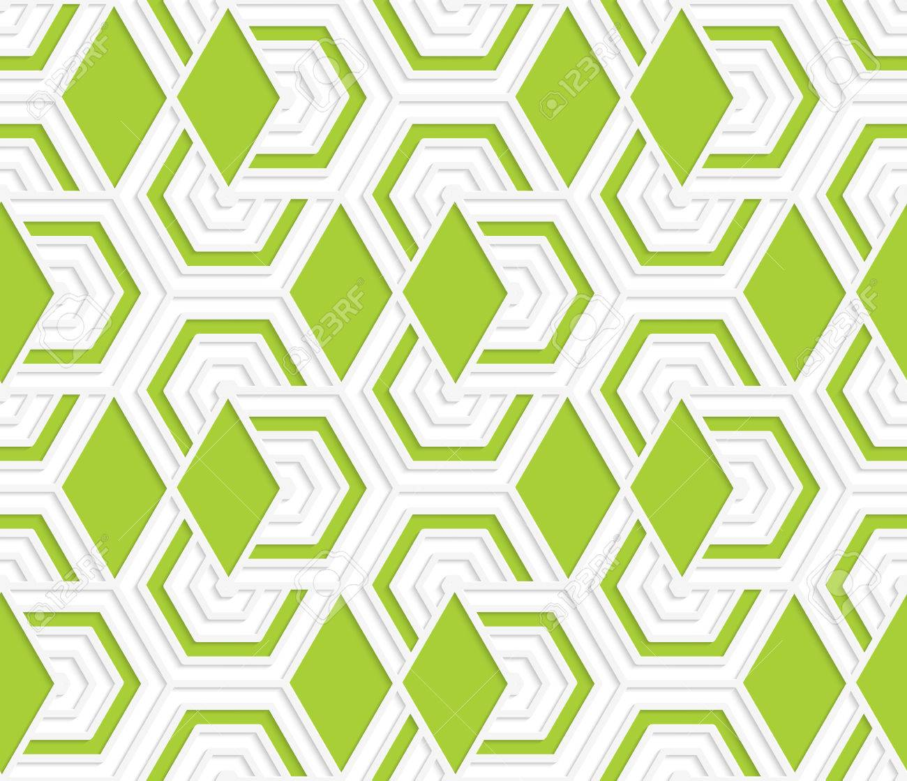 Colored 3D overlapping with green diamonds hexagons .Seamless geometric background. Modern 3D texture.