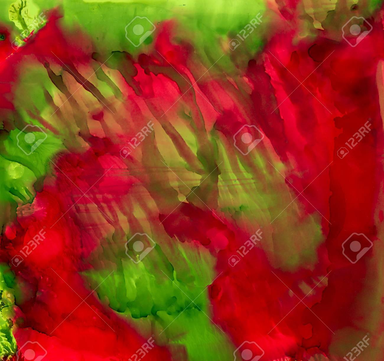 Peinture Abstraite Vert Clair Rouge Tachécolorful Fond Dessinés à