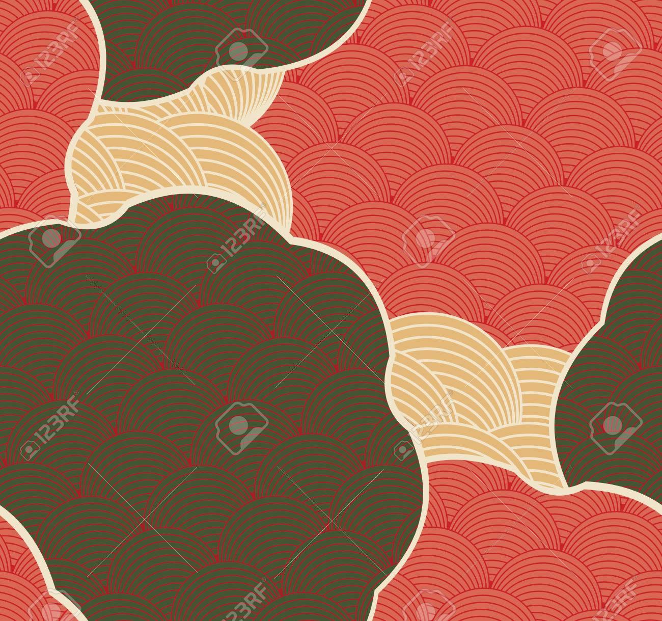 77a52d9ee2fd7 Fundo sem emenda desenhado mão. Criativo design artesanal para moda têxtil  de tecido. Motivos japoneses em cores retro ...