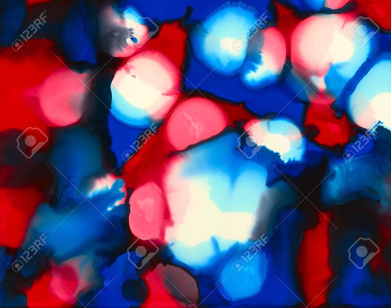 Rouge Bleu Blanc Noir Peinture Inégale Fusionnant Des Taches Fond
