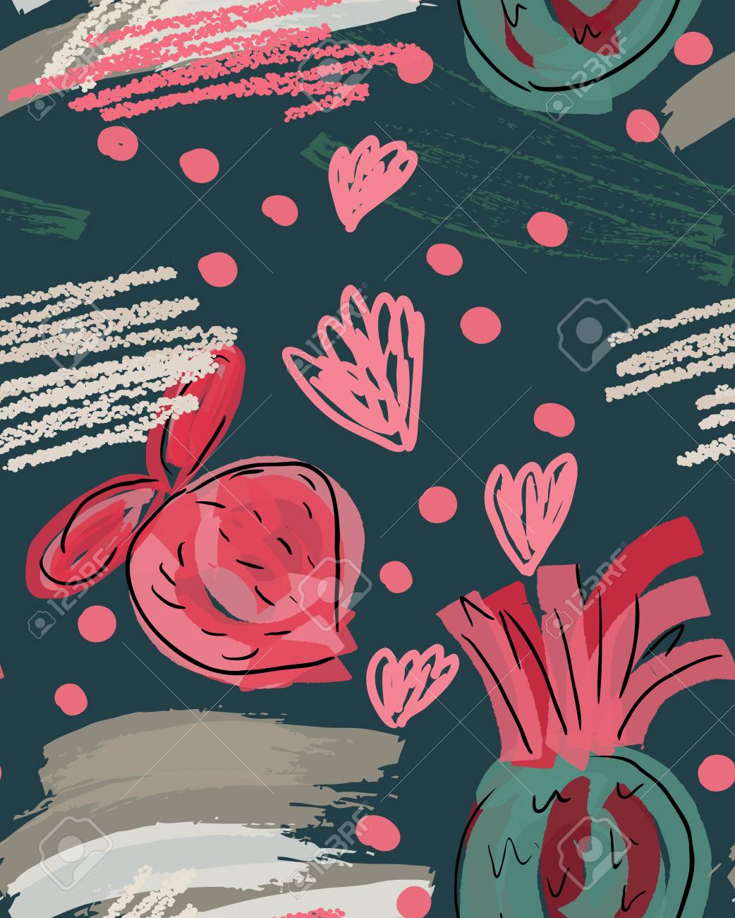 Rough Doodled Strawberriesabstract Seamless Pattern Universal