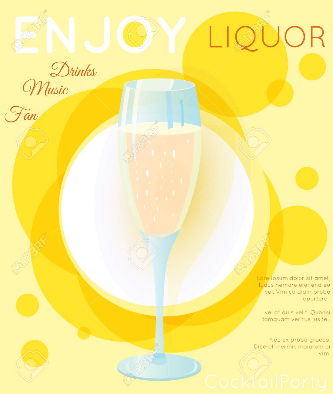 Classic Sparkling Wine Champagne On Yellow CirclesCocktail Illustration Bright Contemporary Flat Background