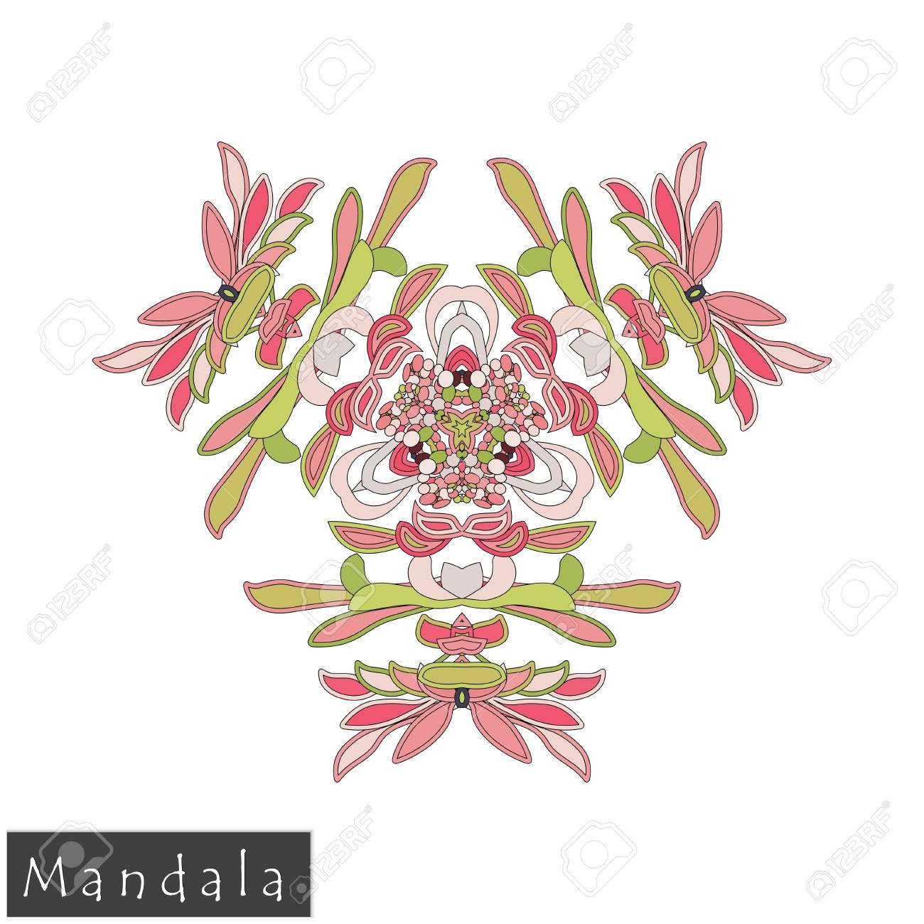 Floral Symmetrical Geometrical Symbol Flower Mandala Icon Isolated