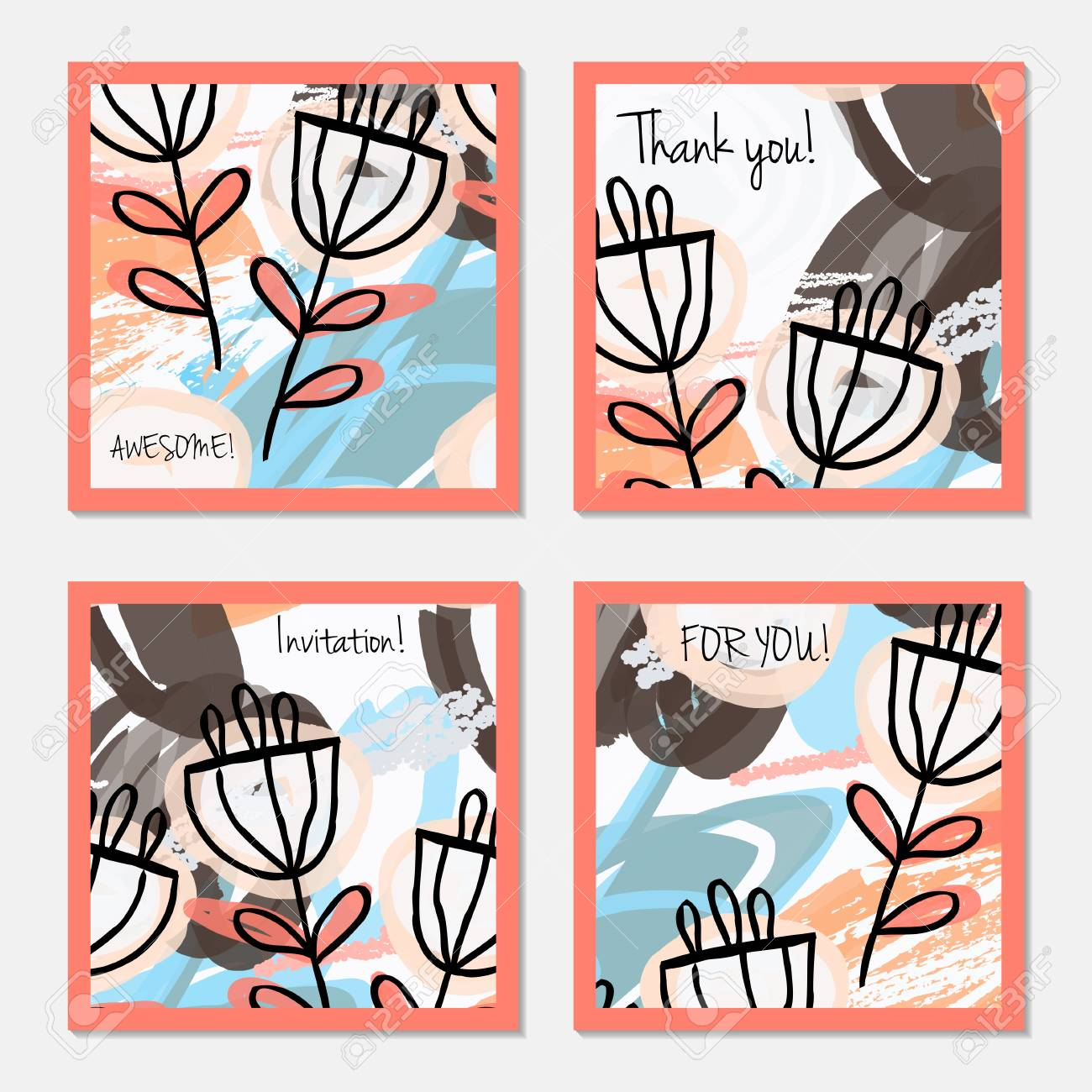 Hand Drawn Creative Invitation Greeting Cards Party Card Template Set Of 4 Isolated