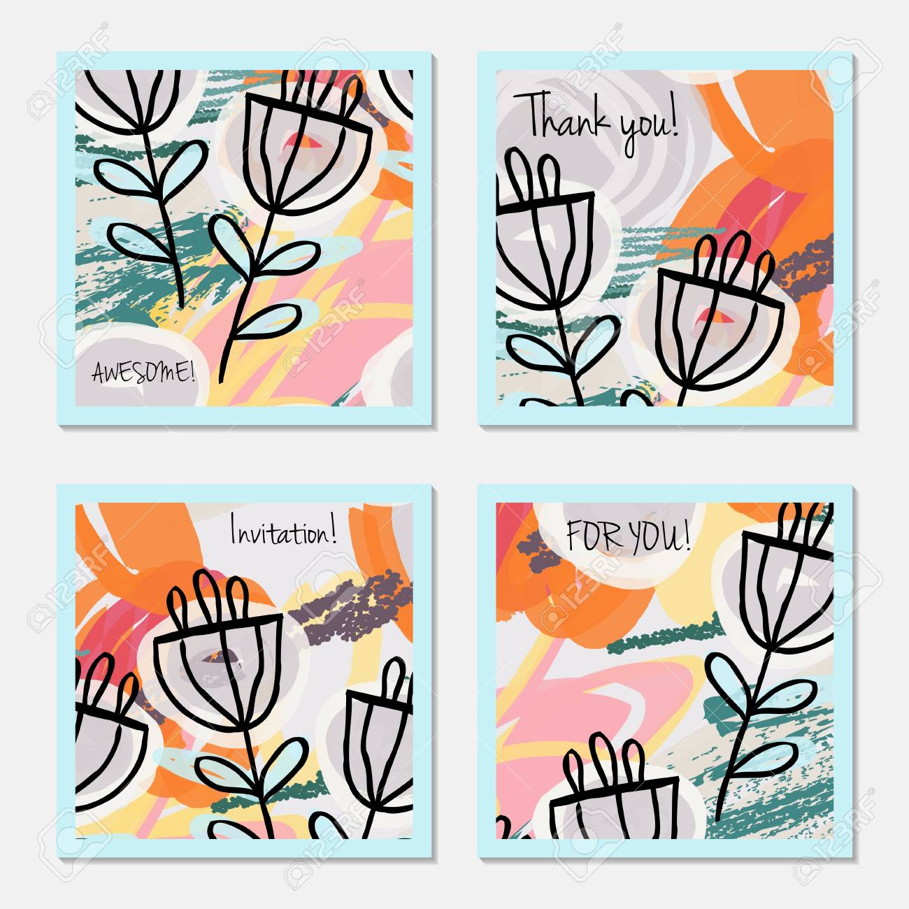 Hand Drawn Creative Invitation Greeting Cards Invitation Party