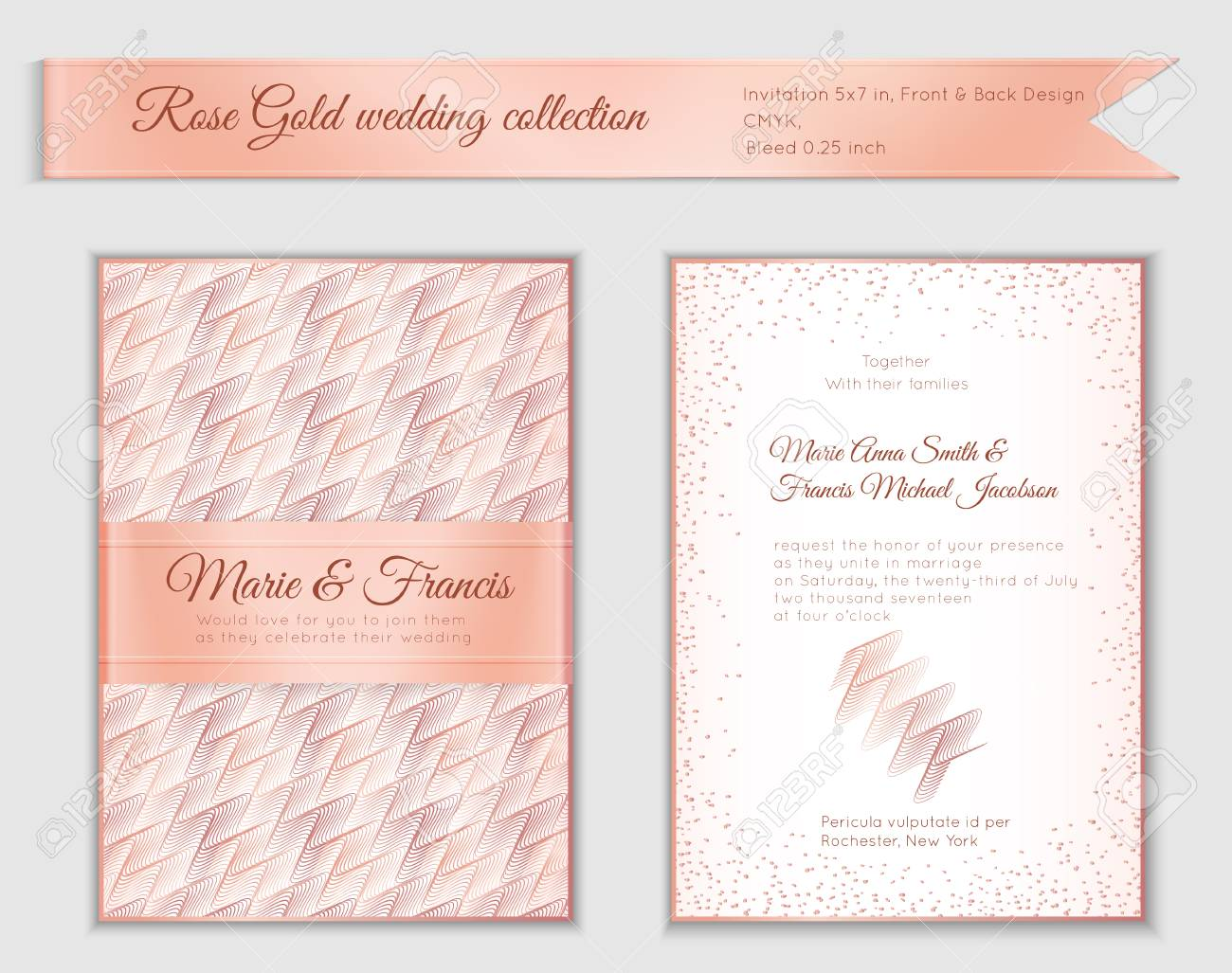 Luxury Wedding Invitation Template With Rose Gold Shiny Realistic - Free 5x7 invitation template