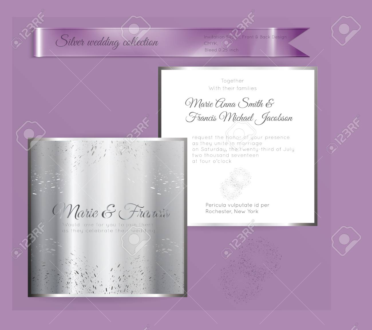 Luxury Wedding Invitation Template With Silver Shiny Ornament ...