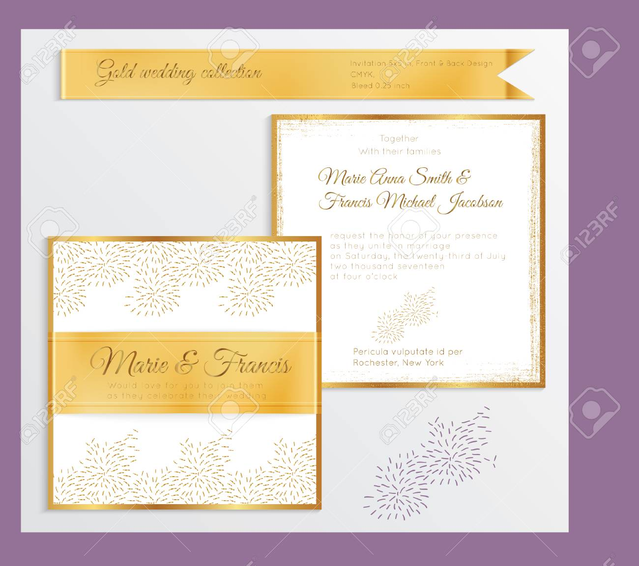 Luxury Wedding Invitation Template With Gold Shiny Realistic