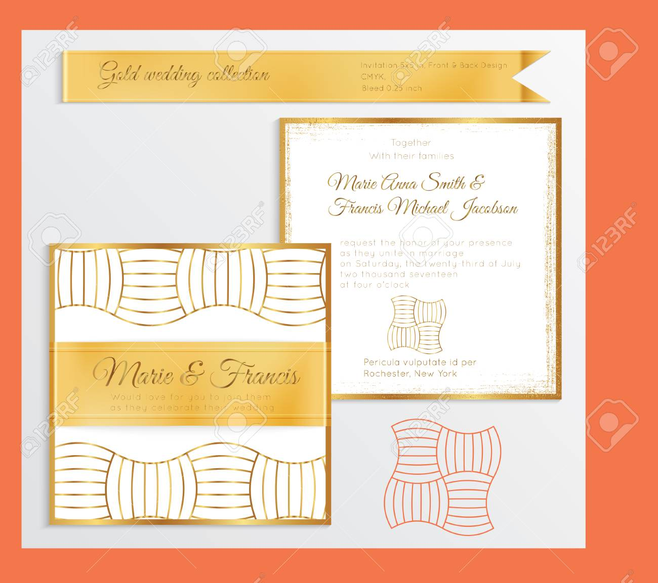 Luxury Wedding Invitation Template With Gold Shiny Realistic ...