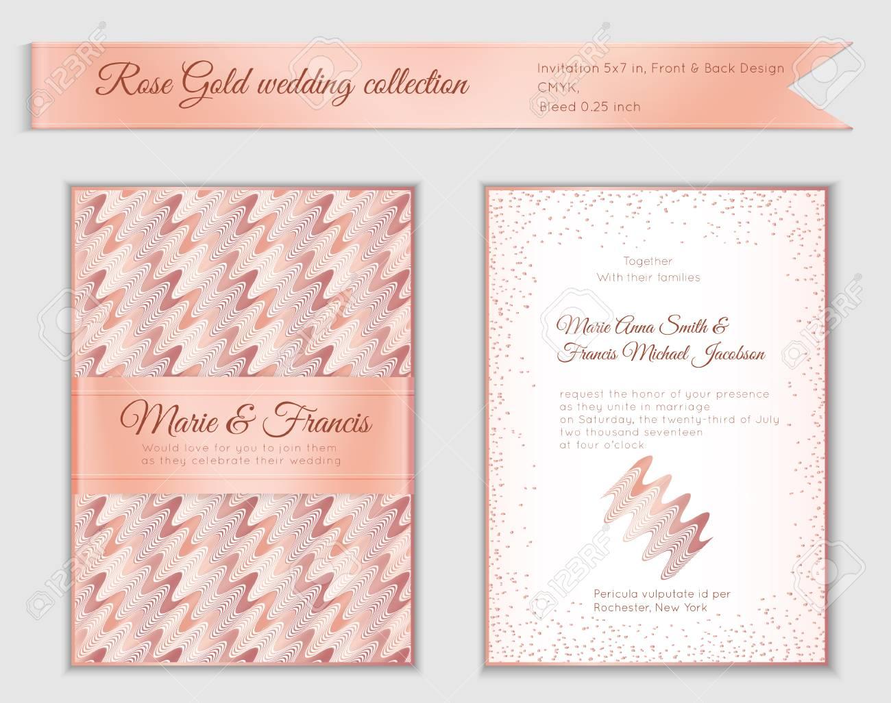 Rose Gold Wedding Invitation Templates Printable Wedding