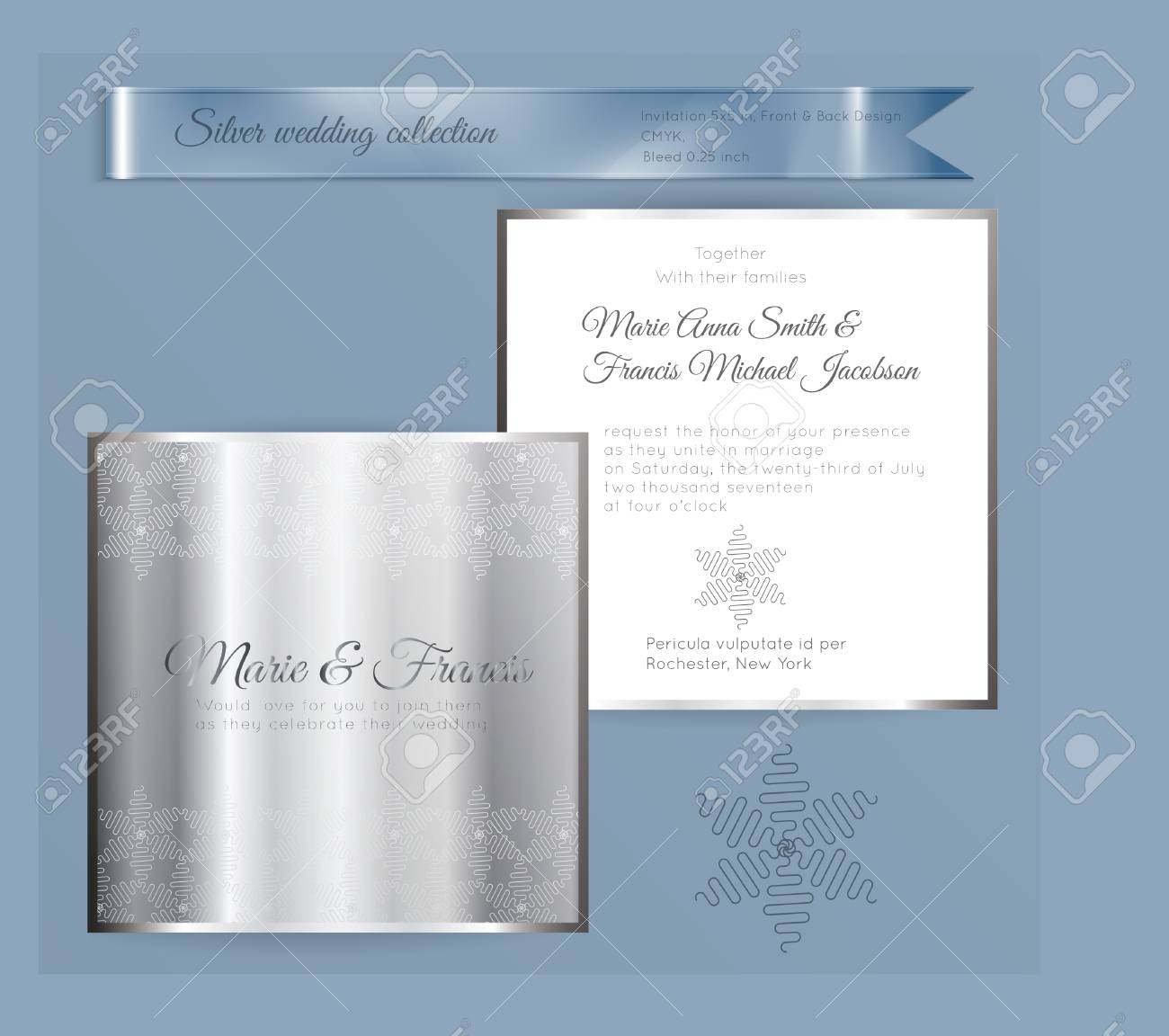 Luxury wedding invitation template with silver shiny ornament. Back and front square card layout with