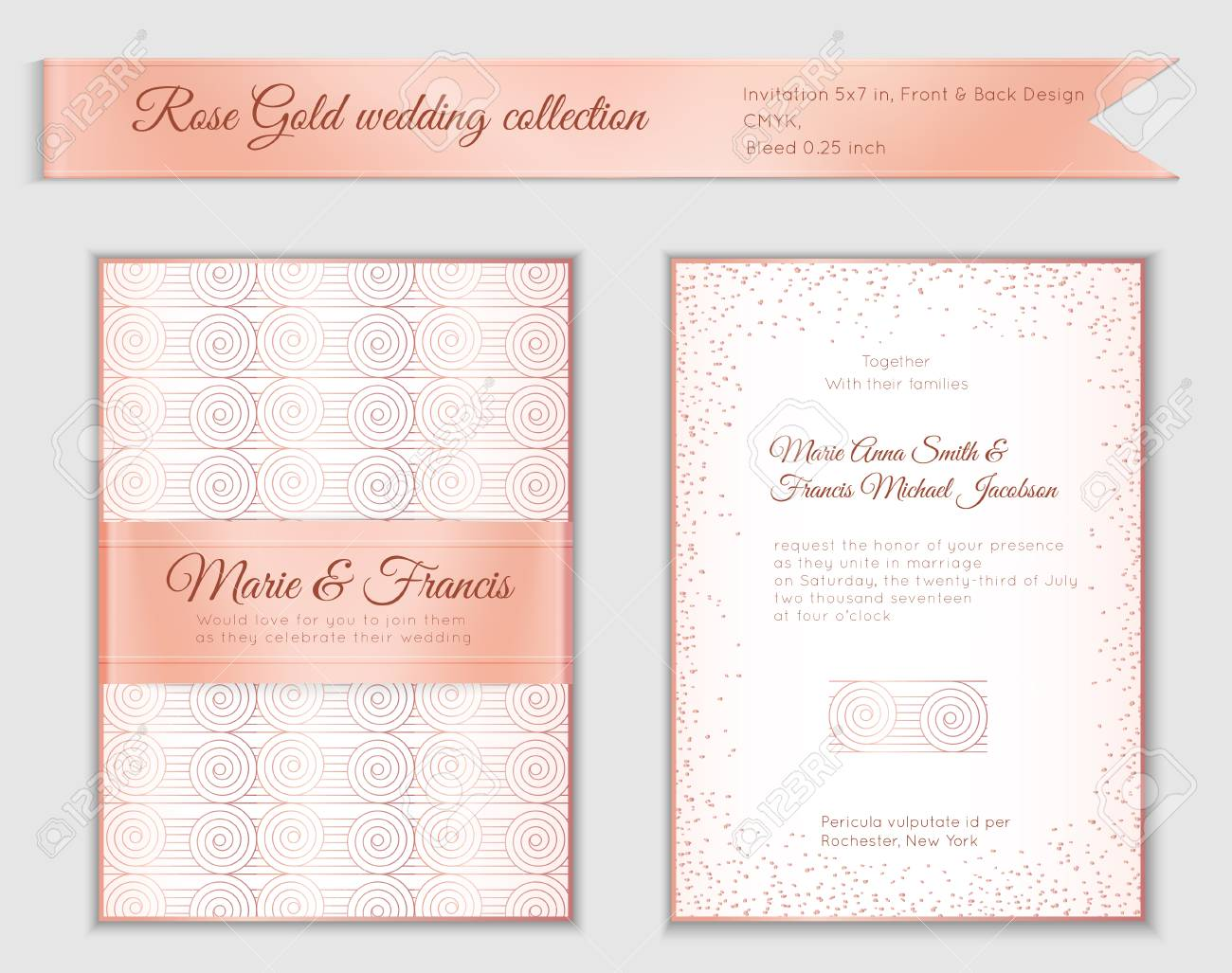 luxury wedding invitation template with rose gold shiny realistic