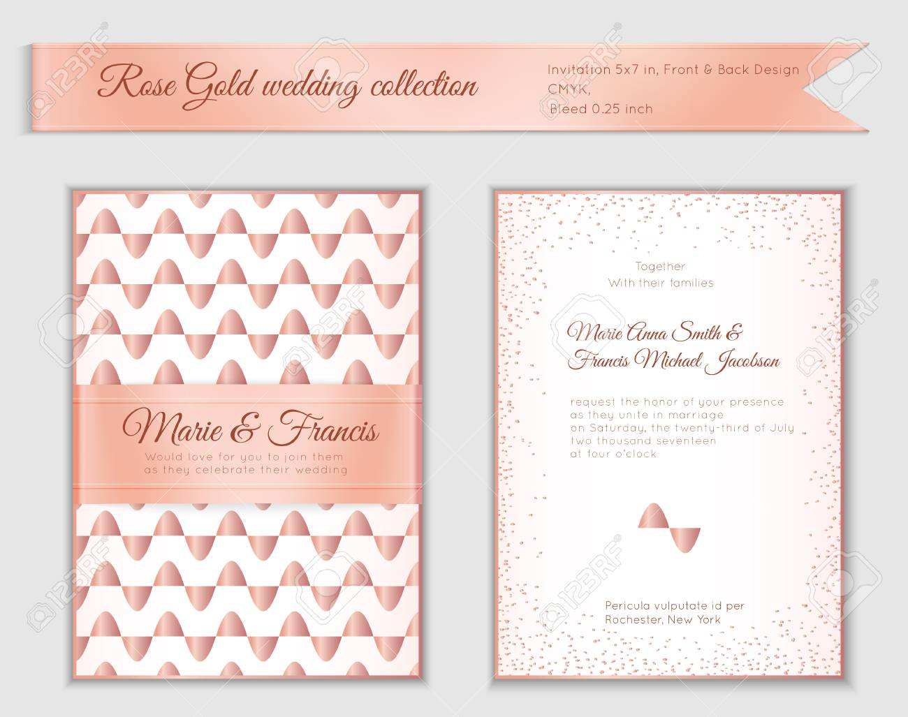 Luxury Wedding Invitation Template With Rose Gold Shiny Realistic ...