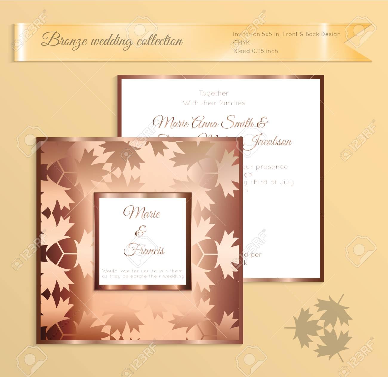 Luxury bronze shiny wedding invitation template back and front luxury bronze shiny wedding invitation template back and front square card layout with rich gold stopboris Images