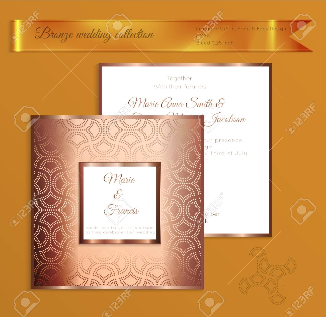 Luxury Bronze Shiny Wedding Invitation Template Back And Front