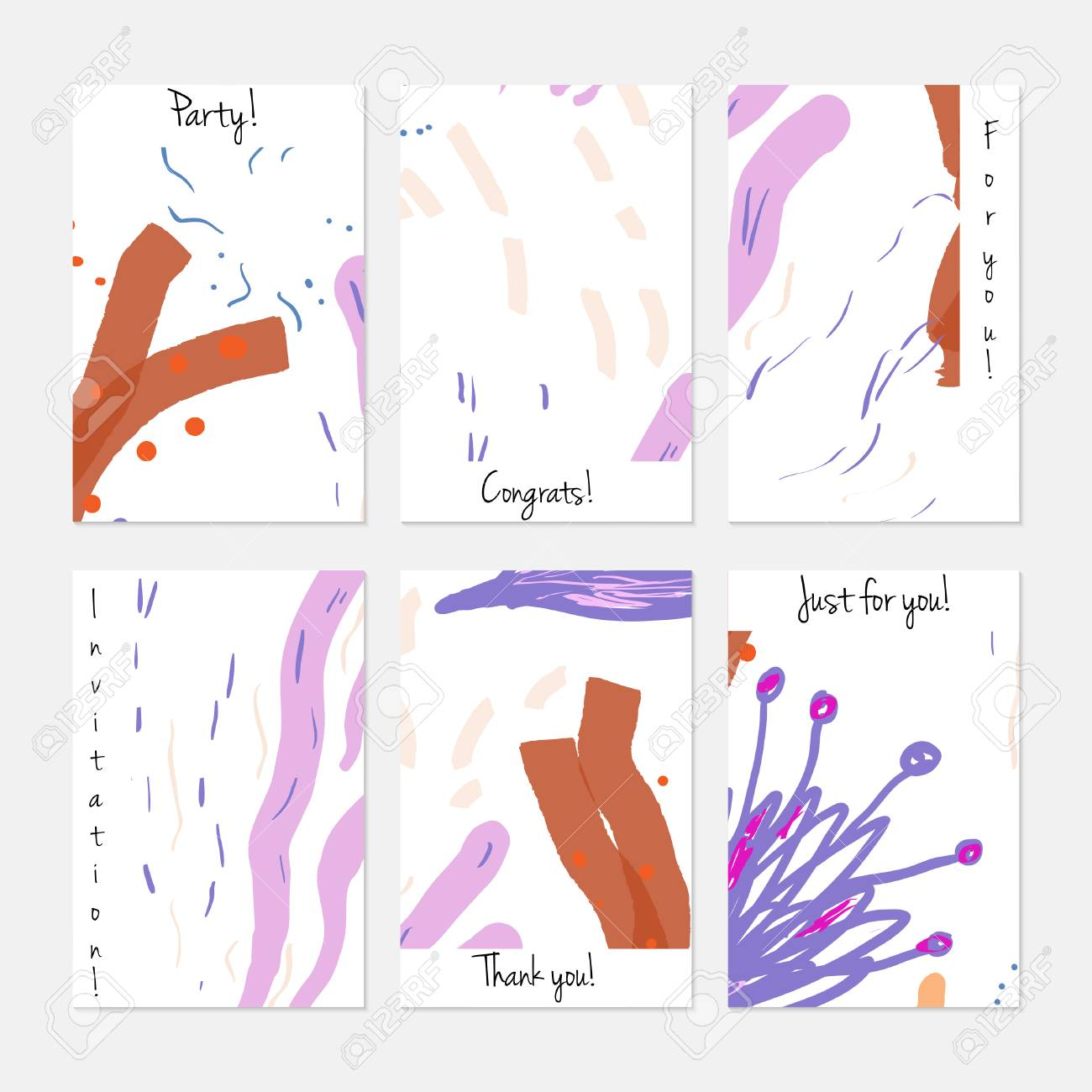 Hand Drawn Creative Universal Invitation Greeting Cards Template