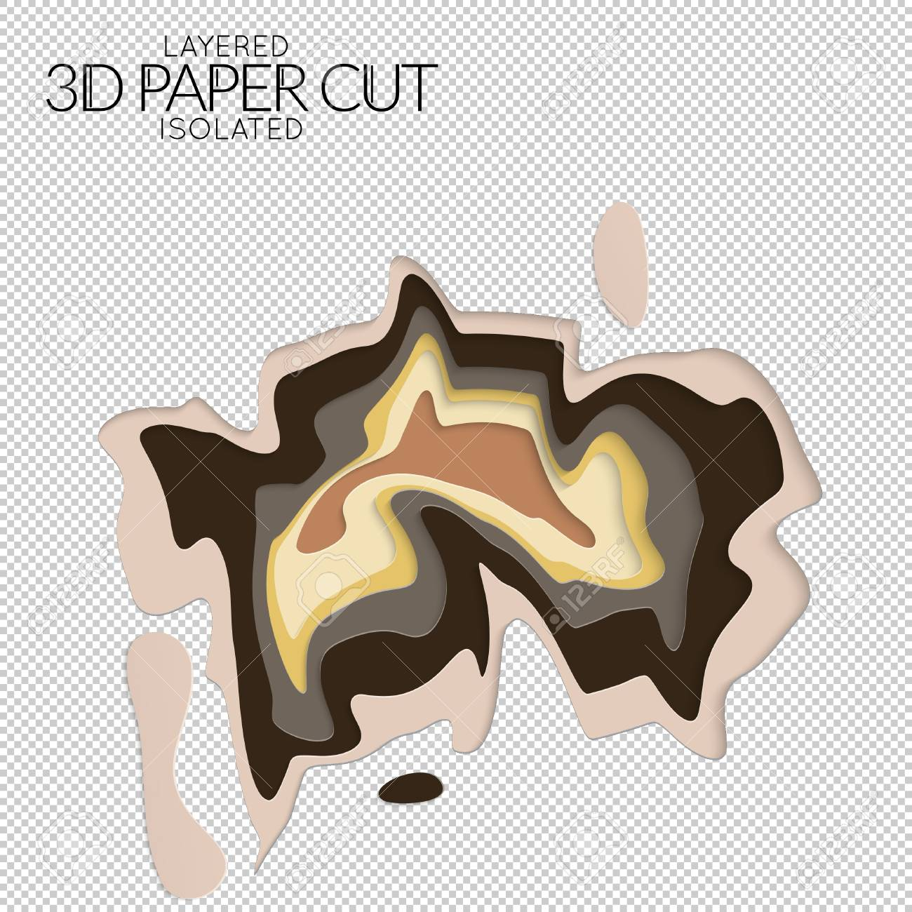 abstract 3d paper cut art shape vector paper cut layers create