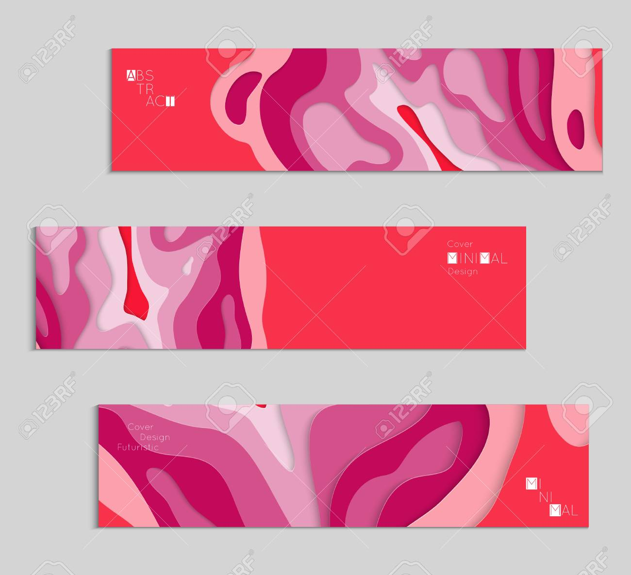 abstract banner template with 3d paper cut art vector paper