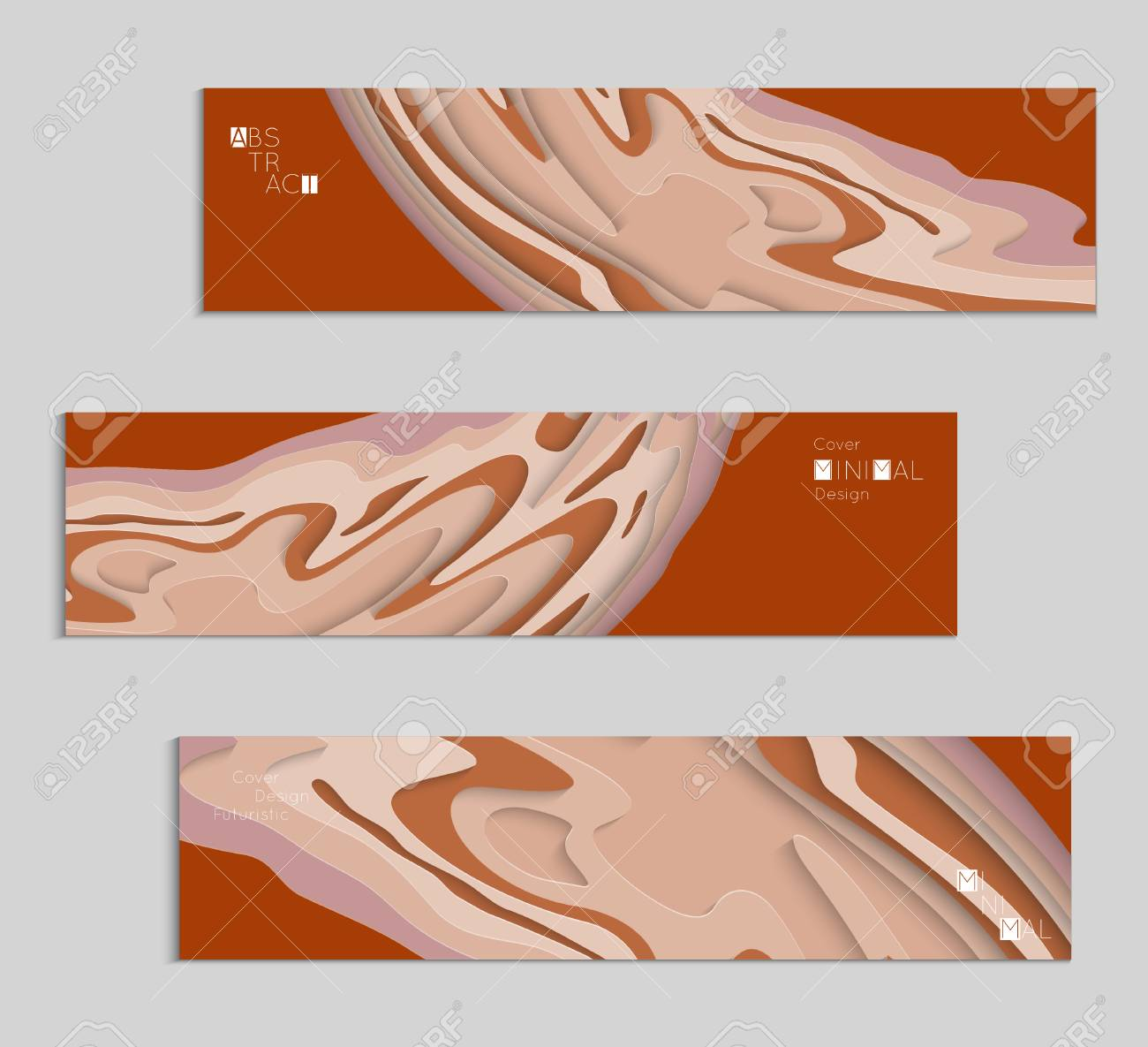 abstract banner template with 3d paper cut art vector paper cut