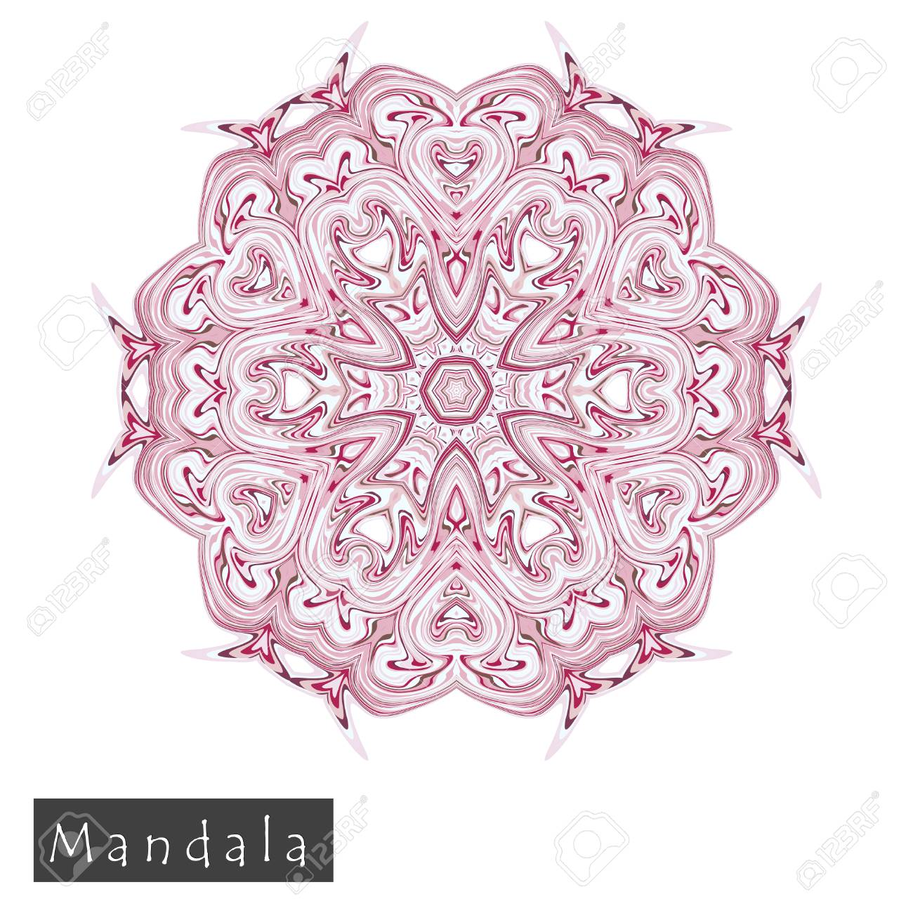 Made Of Thin Lines Detailed Mandala. Floral Symmetrical Geometrical ...