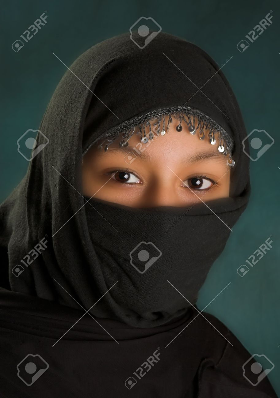 Young arabian woman in a black veil Stock Photo - 3756970