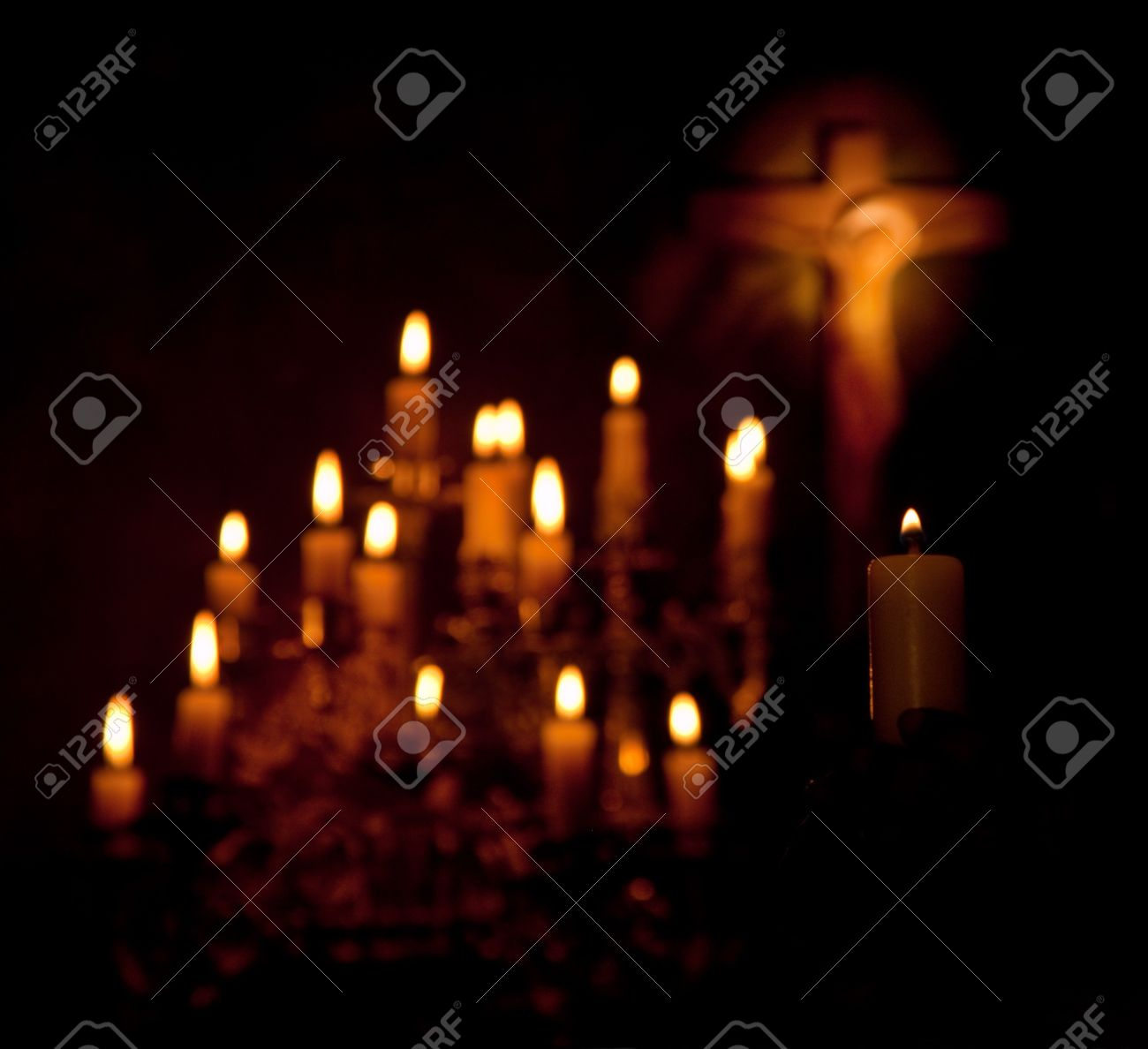 Holy cross and candles lighting in the darkness Stock Photo - 4160926 & Holy Cross And Candles Lighting In The Darkness Stock Photo Picture ...