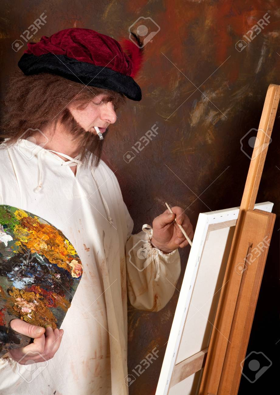 Vintage painter working with pallet and paint brushes Stock Photo - 4283327