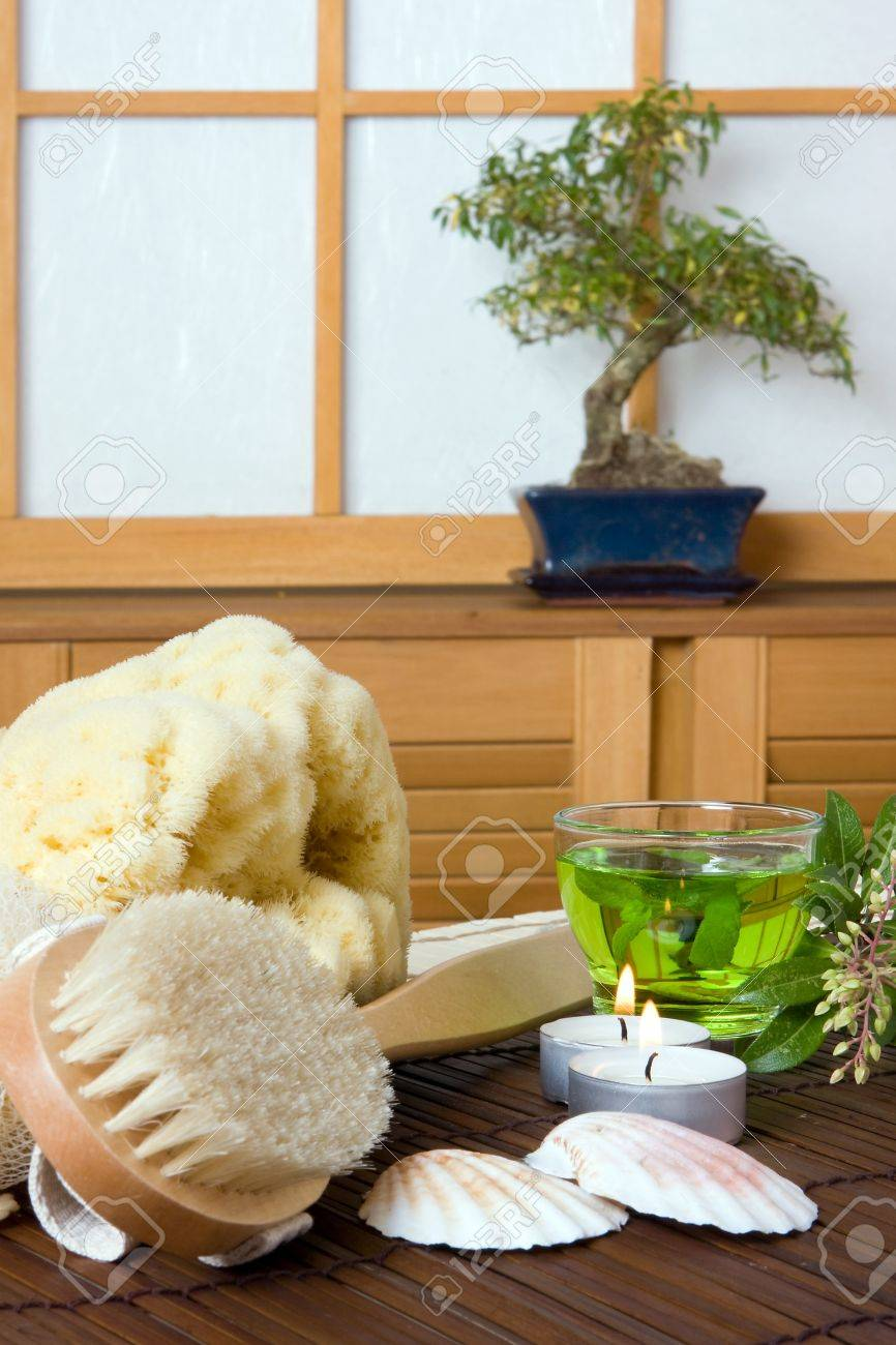 Spa Bath Products And Green Tea Against A Traditional Japanese ...