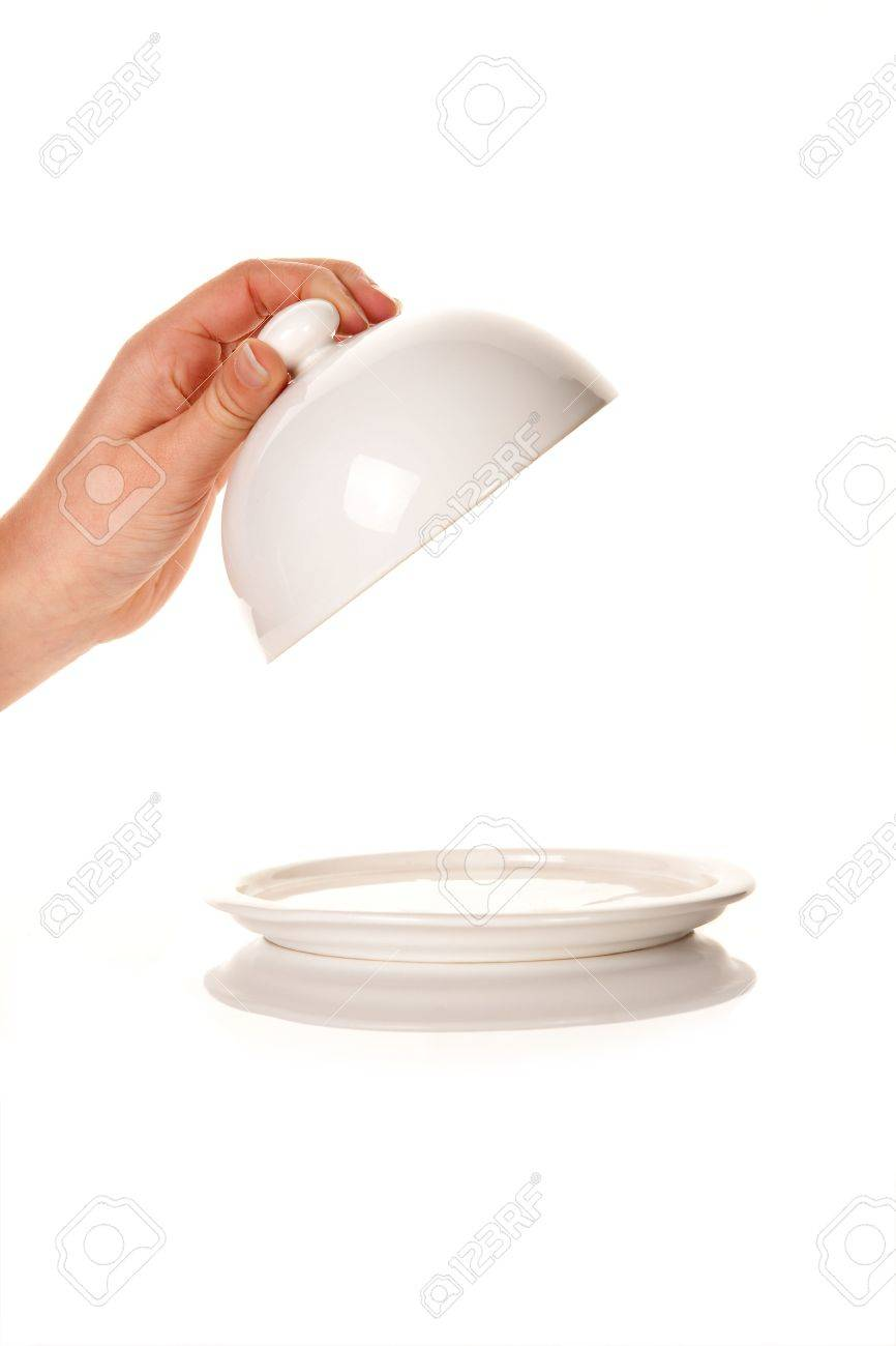 Hand taking off a lid of an empty tray with copy space Stock Photo - 4944187