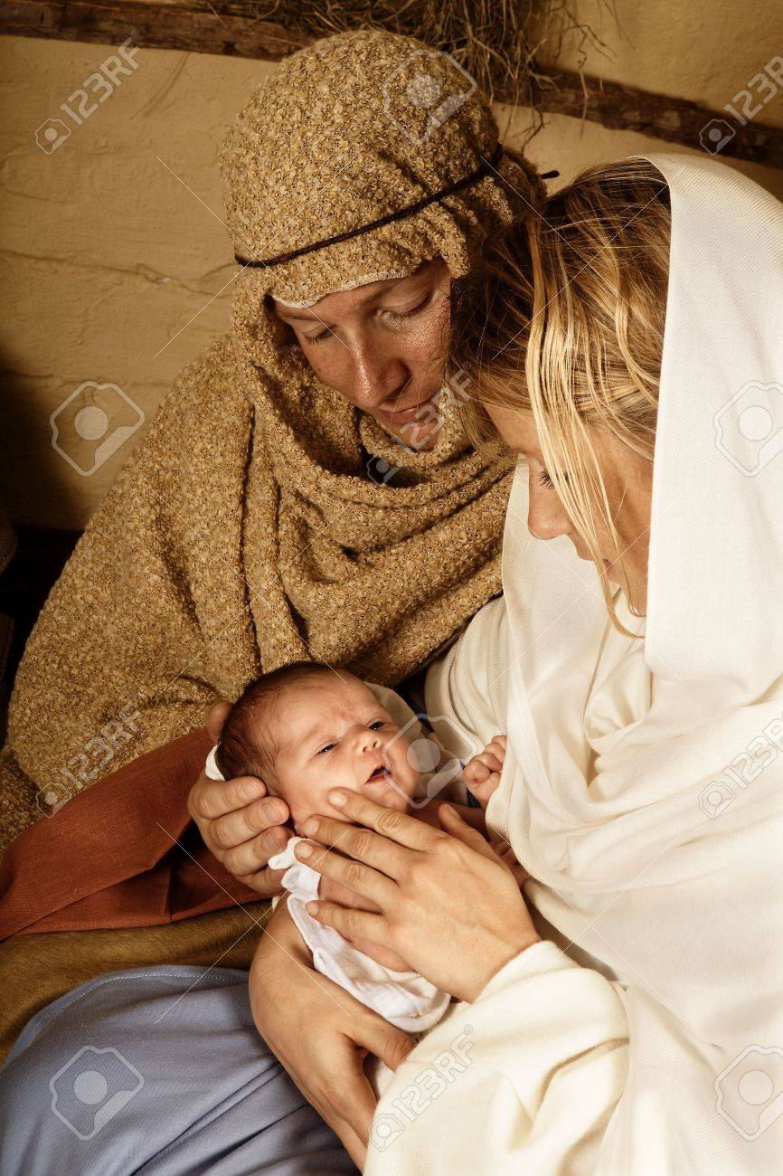 Reenactment of the christmas nativity scene with real people Stock Photo - 5420713