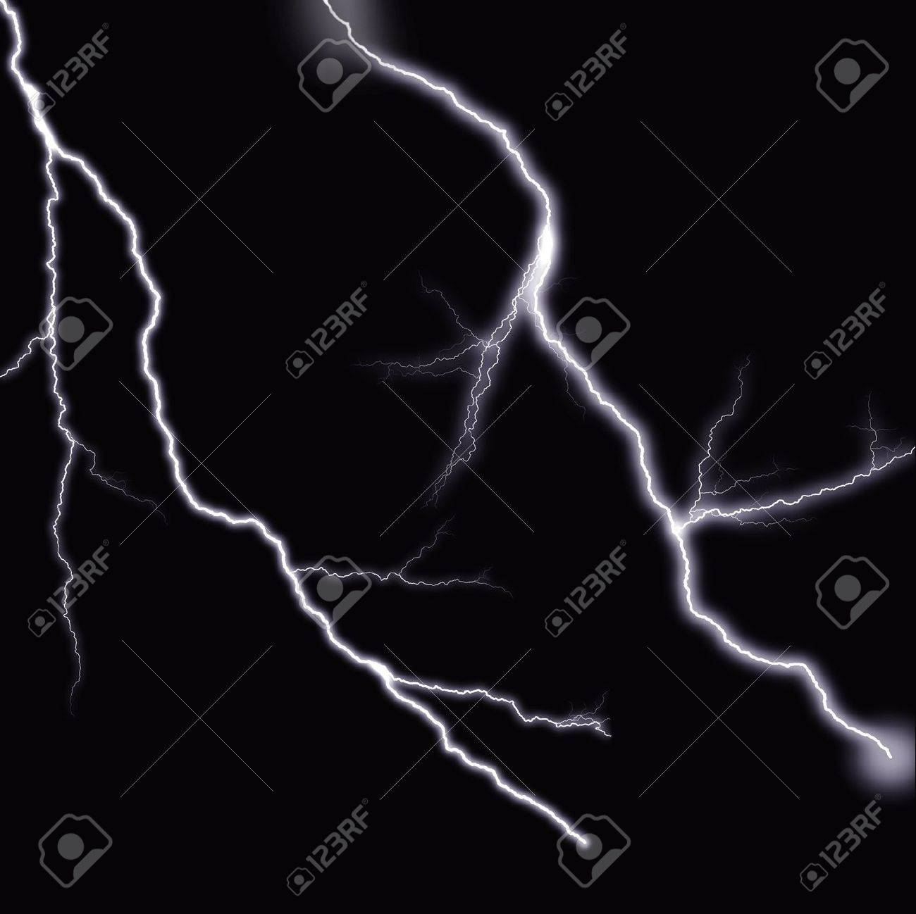 Black Background With Two Realistic Rendered Lightning Bolts Stock