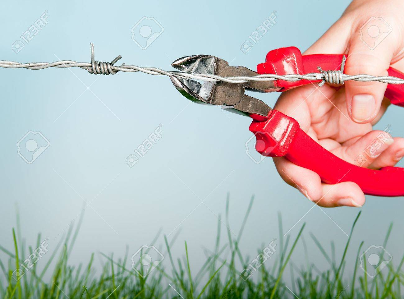 Hand cutting barbed wire with pincers to escape for freedom Stock Photo - 5770173