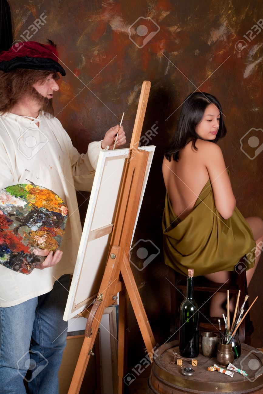 young nude model Stock Photo - Vintage painter making a painting of a young nude model