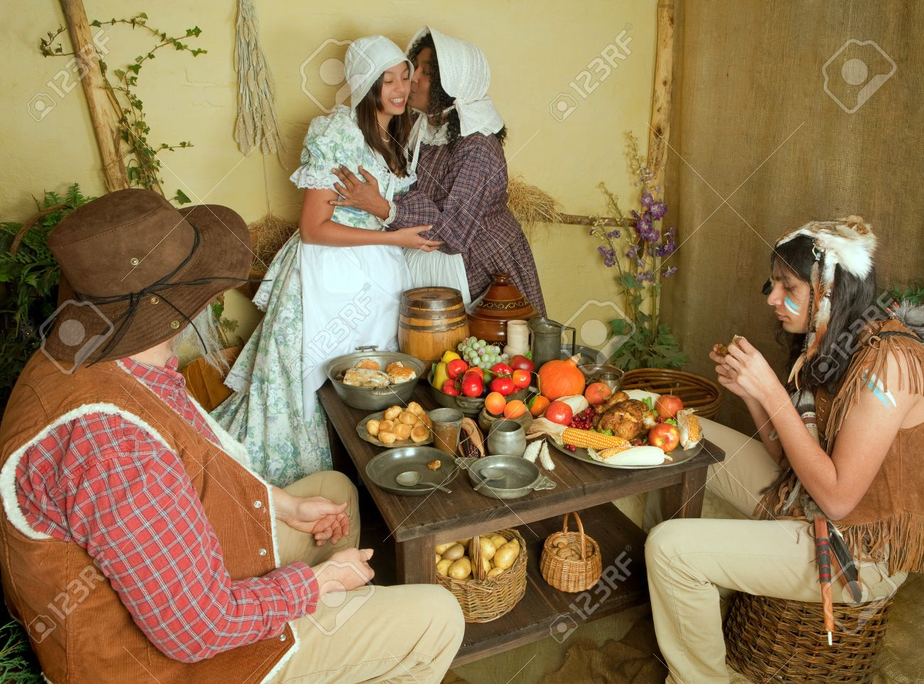 Reenactment Scene Of The First Thanksgiving Dinner In Plymouth