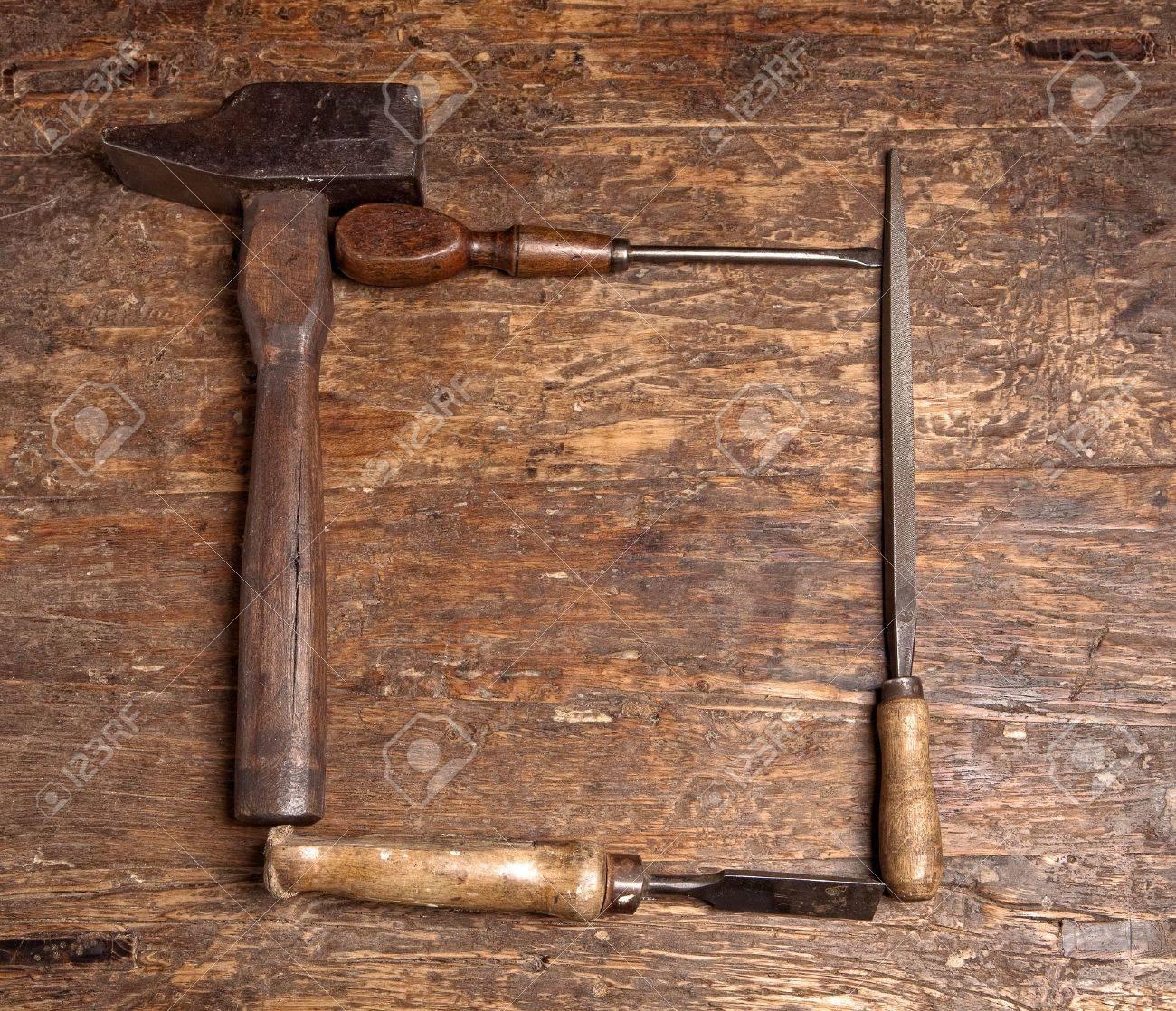 Border frame of rustic grunge carpenter tools Stock Photo - 8374354