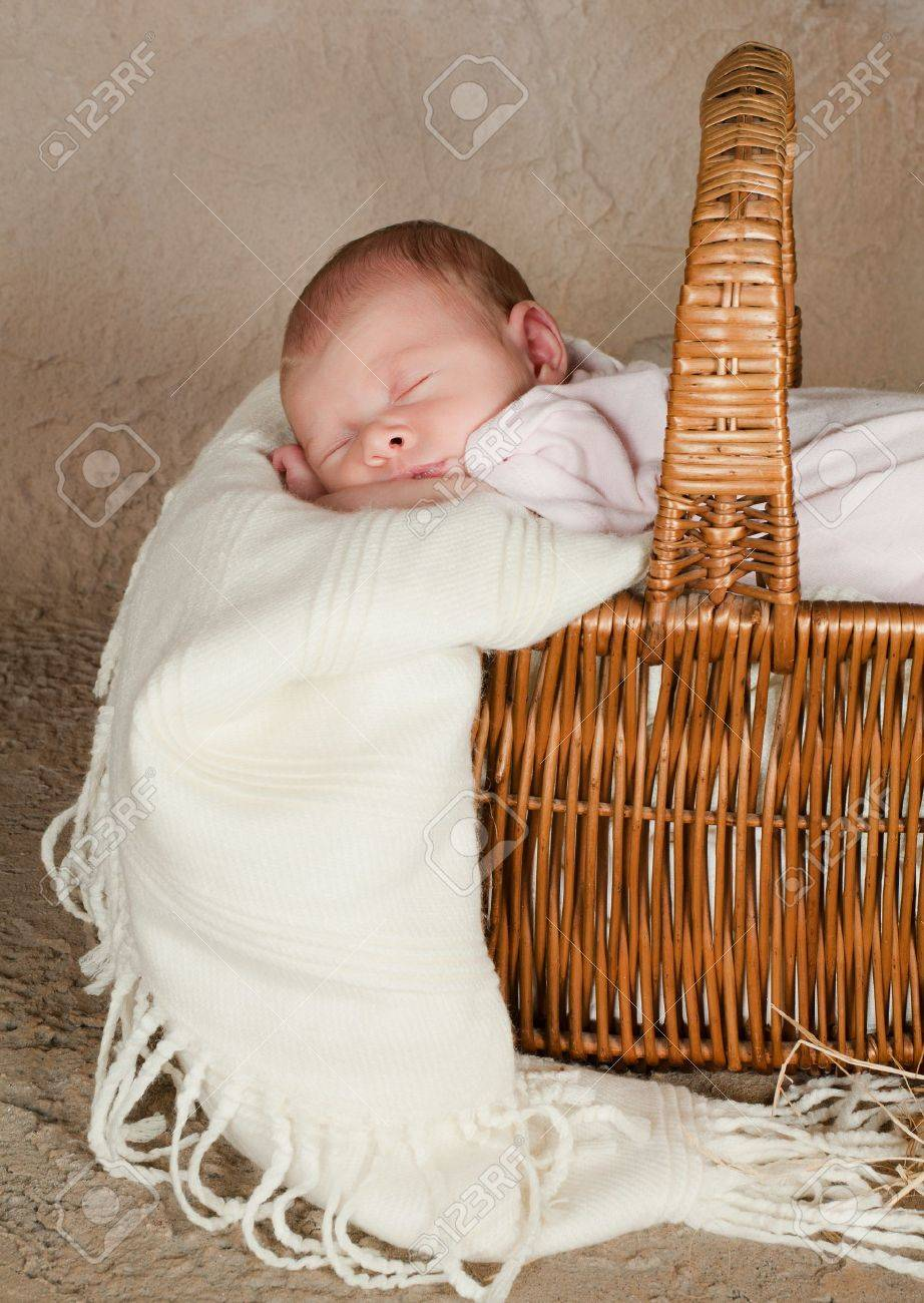 Vintage Wicker Picnic Basket With A Little Baby Of 18 Days Old Stock Photo Picture And Royalty Free Image Image 9646134