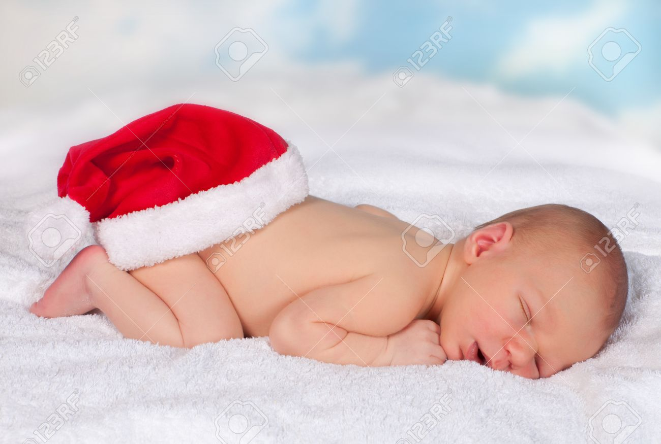 Sleeping Baby Wearing A Funny Santa Hat On His Behind Stock Photo Picture And Royalty Free Image Image 10959424